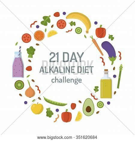 21 Days Alkaline Challenge. Round Alkaline Product Frame. Diet Concept. Vector Template With Text Ar