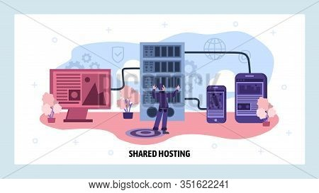 Data Center And Web Hosting Concept. Engineer Install Server Software. Cloud Data Storage. Vector We