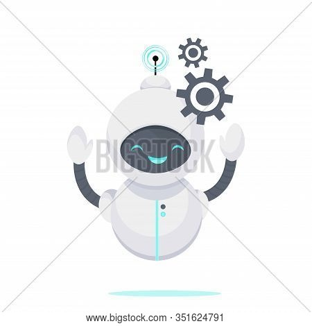 Smilling Chat Bot. Robot Virtual Assistance, Helping Solve A Problems . Artificial Intelligence. Car