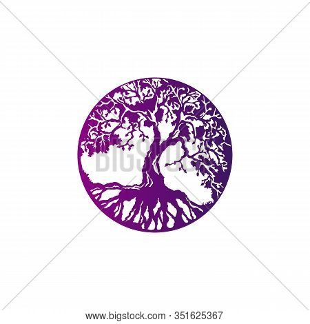 The Amulet Is The Tree Of Life. Stylish Vector Illustration Of A Tree Of Life With Roots In A Circle