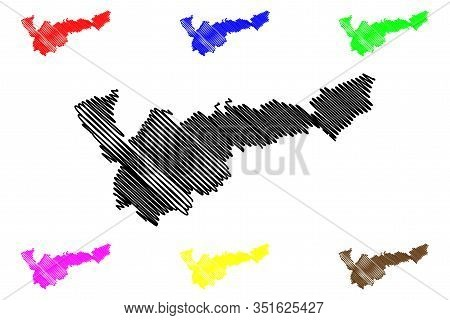 Mohales Hoek District (districts Of Lesotho, Kingdom Of Lesotho) Map Vector Illustration, Scribble S