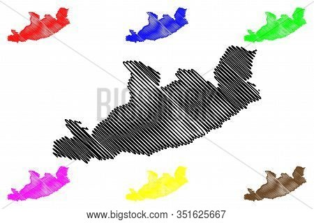 Qachas Nek District (districts Of Lesotho, Kingdom Of Lesotho) Map Vector Illustration, Scribble Ske