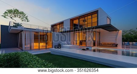 Beautiful View Of Modern Sea House With  The Sea, Lounge Chairs On White Floor Deck At Vacation Home