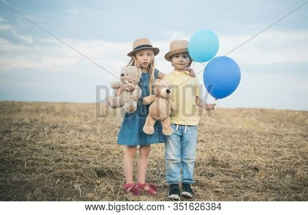 Carefree Childhood. Happy Kid On Summer Field. Happy Children Having Fun Together, Love And Friendsh