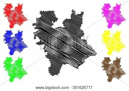 Central Banat District (republic Of Serbia, Districts In Vojvodina) Map Vector Illustration, Scribbl