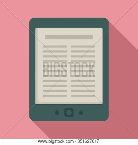 Library Ebook Icon. Flat Illustration Of Library Ebook Vector Icon For Web Design