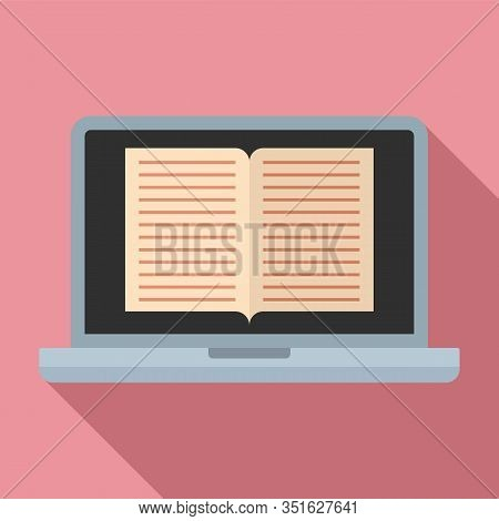 Laptop Ebook Icon. Flat Illustration Of Laptop Ebook Vector Icon For Web Design