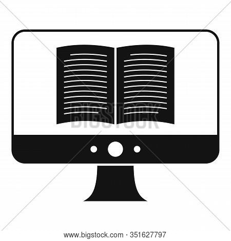 Computer Ebook Icon. Simple Illustration Of Computer Ebook Vector Icon For Web Design Isolated On Wh