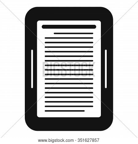 Ebook Device Icon. Simple Illustration Of Ebook Device Vector Icon For Web Design Isolated On White
