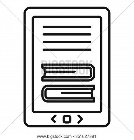 Ebook Icon. Outline Ebook Vector Icon For Web Design Isolated On White Background