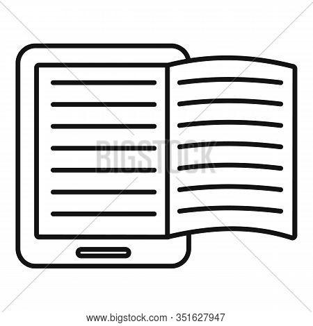 Magazine Ebook Icon. Outline Magazine Ebook Vector Icon For Web Design Isolated On White Background