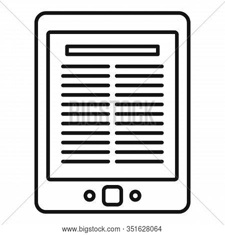 Library Ebook Icon. Outline Library Ebook Vector Icon For Web Design Isolated On White Background
