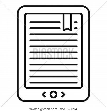Mobile Ebook Icon. Outline Mobile Ebook Vector Icon For Web Design Isolated On White Background