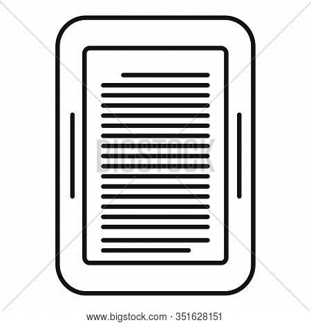 Ebook Device Icon. Outline Ebook Device Vector Icon For Web Design Isolated On White Background