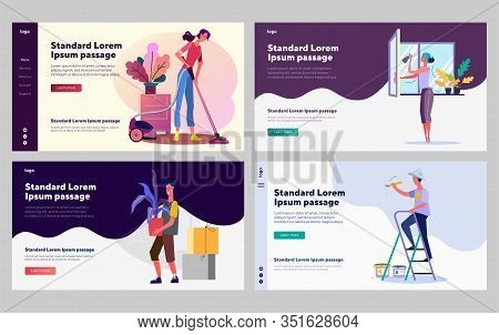 Cleanup And Housekeeping Set. Man And Woman Vacuuming, Washing Window, Painting Wall. Flat Vector Il