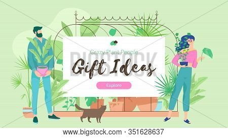 Plant Lover Poster Horizontal With Man And Woman Character And Words Plant Lovers Gift Ideas. Modern