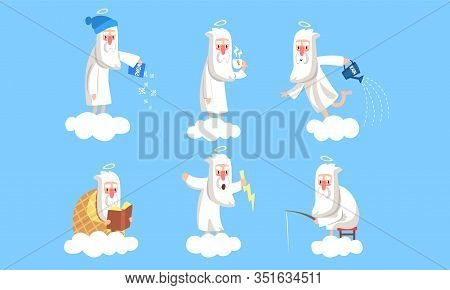 Funny Elderly Male Angel Character In Different Situations Collection, Activity Of Holy Old Man On H