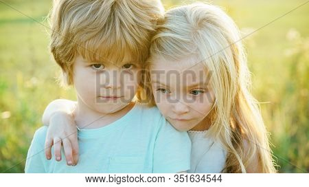 Children Hugging For Goodbye. Friendship And Support. Bye Bye. Little Boy Say Good Bye With Little G