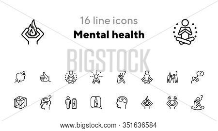 Mental Health Line Icon Set. Person, Patient, Brain, Disease. Health Concept. Can Be Used For Topics