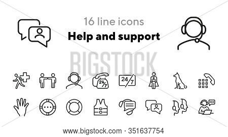 Help And Support Icons. Set Of Line Icons. Call Operator, Sitting Dog, Urgent Help. Help Concept. Ve