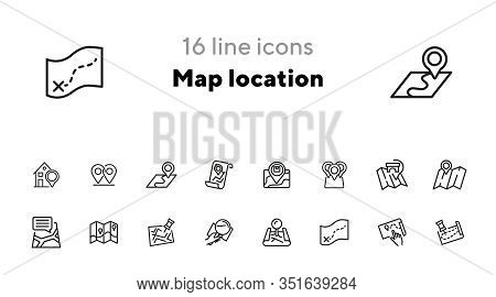 Map Location Line Icon Set. Pin, Mark Pointer, City Plan. Navigation, Concept. Can Be Used For Topic