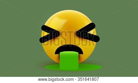 Vomiting 3d Emoticon Isolated On White Background.