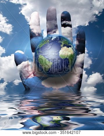 Planet Earth in human hand. 3D rendering