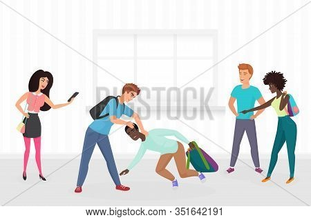 Guy Hitting Classmate, Mocking Him, Scoffing, Excruciate, Cling, Intimidate, Taking Photos On Smartp