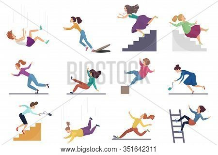 Set Of Cartoon Vector Injuring Female Woman Falling Down The Stairs And Over The Edge, Ladder, Drop