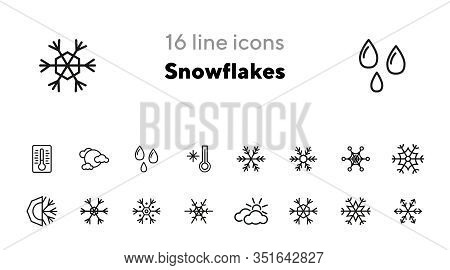 Snowflakes Line Icon Set. Set Of Line Icons On White Background. Cold, Winter, Frozen. Winter Concep