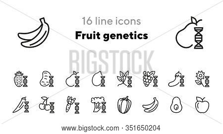 Fruit Genetics Line Icon Set. Eggplant, Lemon, Dna Spiral, Vegetables. Food Concept. Can Be Used For