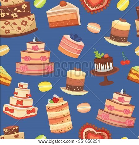 Wedding Cakes Seamless Pattern Of Sweet Baked Vector Isolated Cakes. Strawberry Cake For Holiday, Ba