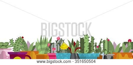 Cartoon Cactus And Succulents Isolated On White Background Gorizontal Banner, Vector Illustration. D