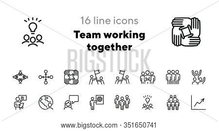Team Working Together Line Icon Set. Stack Of Hands, Group Of People, Celebrating Success. Teamwork