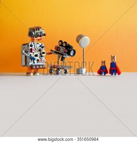 Comical Robotic Toy Cameraman Makes A Happy Ending Movie About Super Heroes. Funny Clothespin Actors
