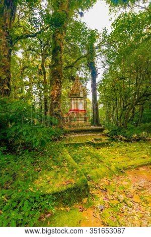 Memorial Shrine At Doi Inthanon Tropical Rainforest Park. Elephant Statues On The Sides As Memento O