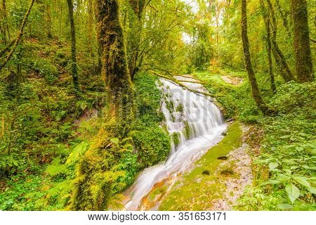 Beautiful Waterfall At Doi Inthanon National Park, Thailand. Vibrant And Fresh Nature, Flowing Water