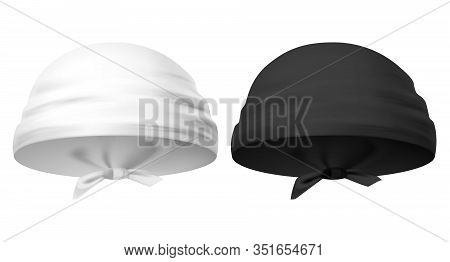 3d Or Realistic Bandana Headwear. Set Of Isolated Clothing For Forehead. Template For Man And Woman