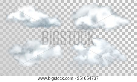 Sky Or Heaven Clouds Isolated On Transparent. Realistic Cumulus Or Fluffy Atmosphere Vapor. Steam Or
