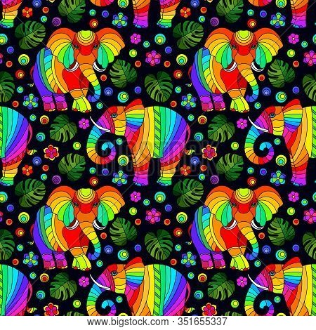 Seamless Pattern With Elephants, Bright Rainbow Animals, Flowers And Leaves On A Dark Background