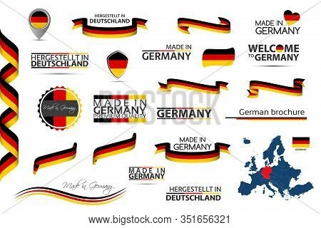Big Vector Set Of German Ribbons, Symbols, Icons And Flags Isolated On A White Background, Made In G