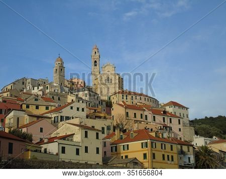 Cervo Ligure, Italy - 02/13/2020: The Village Of Cervo On The Italian Riviera In The Province Of Imp