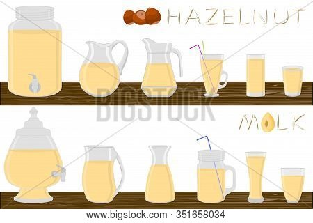 Big Kit Different Types Glassware, Hazelnut Milk In Jugs Various Size. Glassware Consisting Of Organ