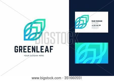 Logo And Business Card Template With Green Leaf Sign. Vector Logo In Gradient, Origami, Line Style.