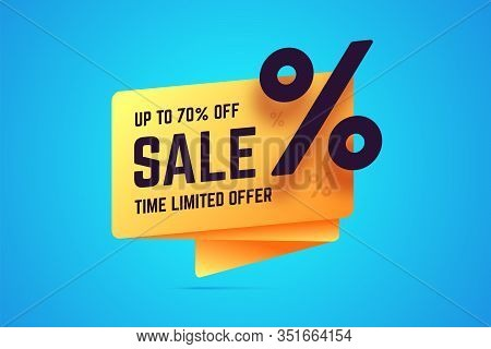 Up To 70 Percent Off Sale. Time Limited Offer Sign In Origami, Gradient Style. Vector Illustration F
