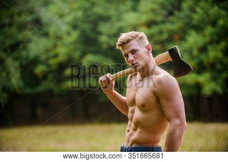You Can Do It. Lumberjack Woodman Sexy Naked Athletic Torso. Masculine Concept. Illegal Logging. Woo