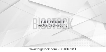 Halftone Dynamic Gray Vector Background. Geometric Dots Texture. Halftone Wallpaper. Gray White Shad