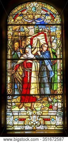 New Orleans, Louisiana, United States - October 6,2019 Crusaders Stained Glass Saint Louis Basilica