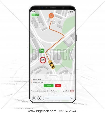 Map Gps Navigation Mockup Screen. Smartphone Ui Ux Kit Mobile App. Thoughtful And Simple Application