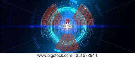 Power Reactor With Futuristic Interface Hud. Abstract Technology Circle With Radiation Symbol On A D